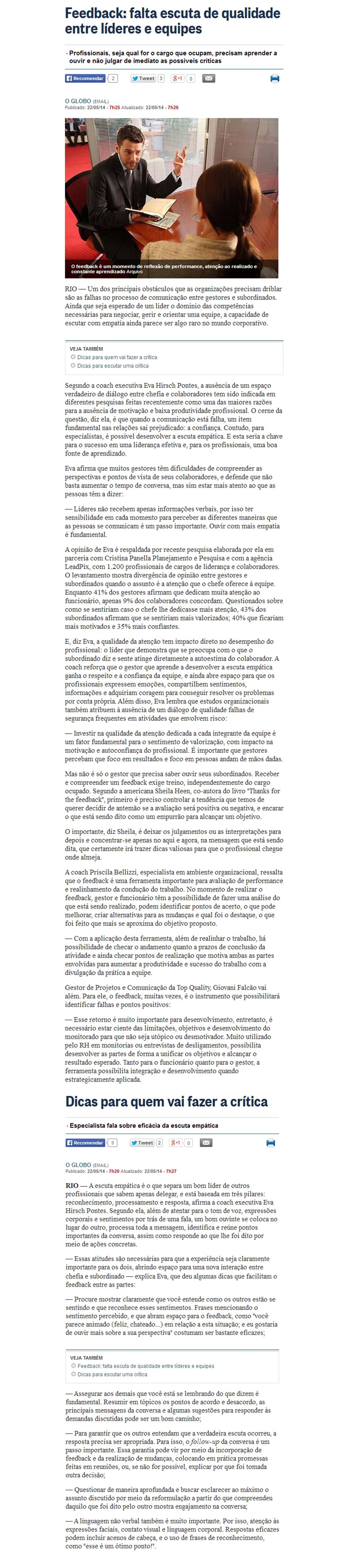 "Matéria ""Falta escuta de qualidade entre líderes e equipes"" | 22 de maio de 2014"